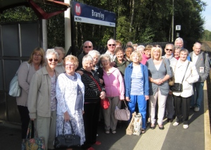Volunteers waiting at Bramley station to go on a trip