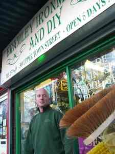Dave Dubej outside his shop
