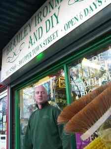 Dave Dubej outside his shop