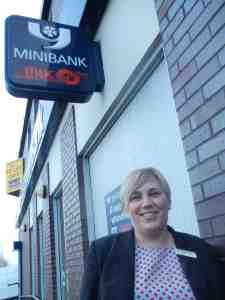 Donna Wells outside Yorkshire Bank, Bramley