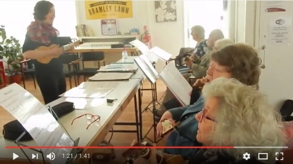 Watch video of ukulele group in action