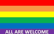 All are welcome - rainbow flag